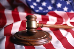 NY long term disability lawyers flag and gavel