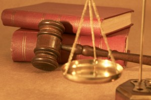 NY long term disability attorneys gavel and books